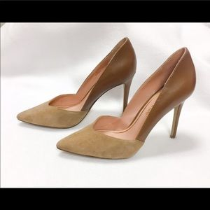 Enzo Nude pumps- mixed media suede and leather